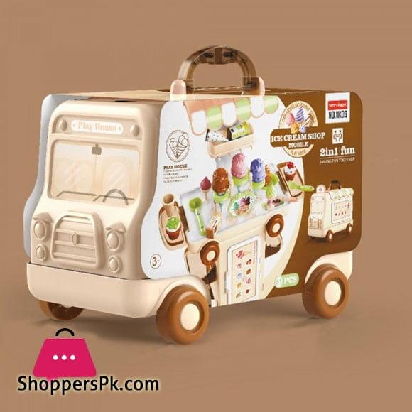 2 IN 1 Pretend Play Ice Cream Shop 51 Pcs Cartoon Bus