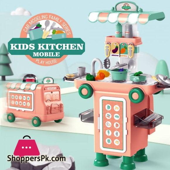 2 IN 1 Pretend Play Kids Kitchen Mobile 43 Pcs Cartoon Bus