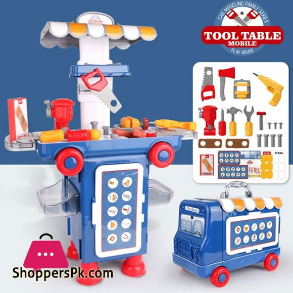 2 IN 1 Pretend Play Tool Table Mobile 40 Pcs Cartoon Bus