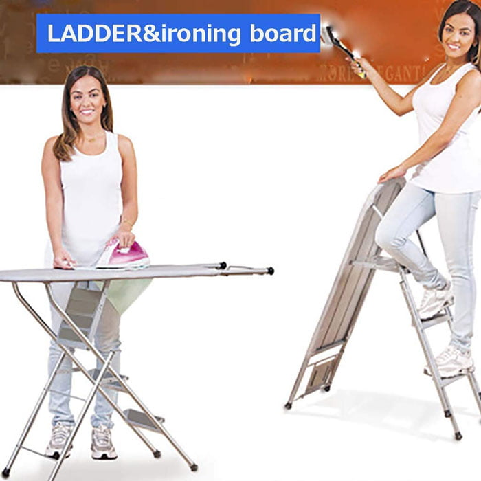 2 in 1 Aluminum Folding Ironing Table/Board With Step Ladder