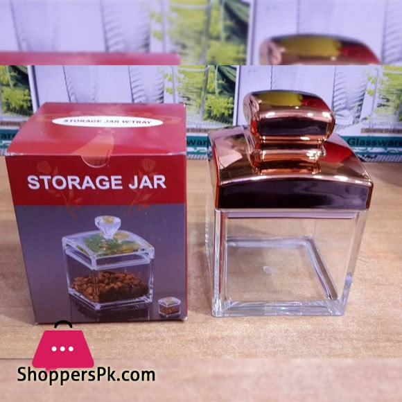 Acrylic Dry Fruit Container Square Shape with Gold Colour Air Tight Lid