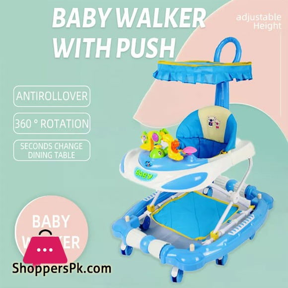 Baby Multi-function Musical Walkers with Push Handle and Umbrella Hood Prevention of O-legs Baby Walker with Floor Mat - 669