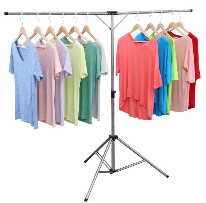 Collapsible Portable Space Saving Clothes Drying Rack, Telescoping High Capacity Stainless Steel Laundry Drying Rack