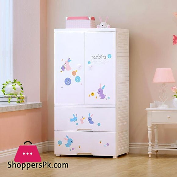 High Quality Baby Clothes Storage Wardrobe with 2 Drawer Cabinet Bunny