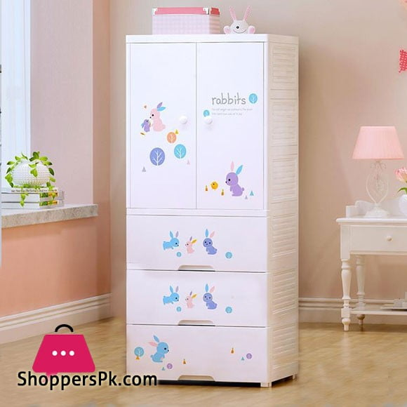 High Quality Baby Clothes Storage Wardrobe with 3 Drawer Cabinet Bunny