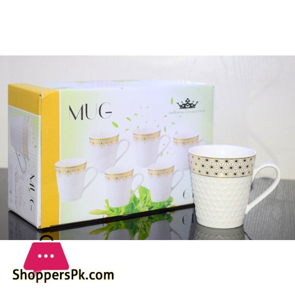 Imperial Collection Tea Cup Gold Print Embossed ( Set of 6 )