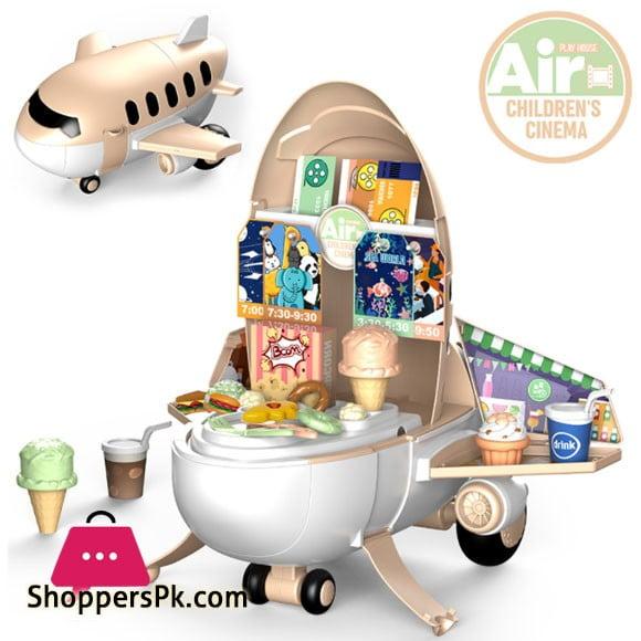 Pretend Play Kids Airplane 2 in 1 Kids Toys Air Cinema 51 Pcs Play Set