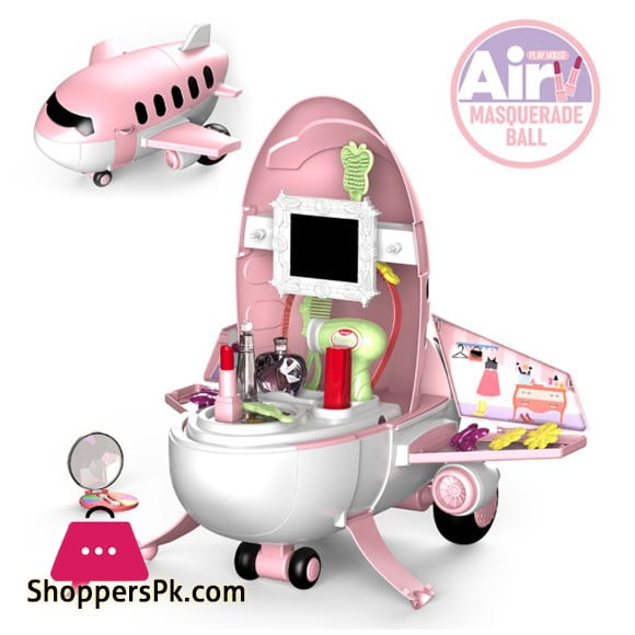 Pretend Play Kids Airplane 2 in 1 Kids Toys Makeup Beautician 32 Pcs Play Set