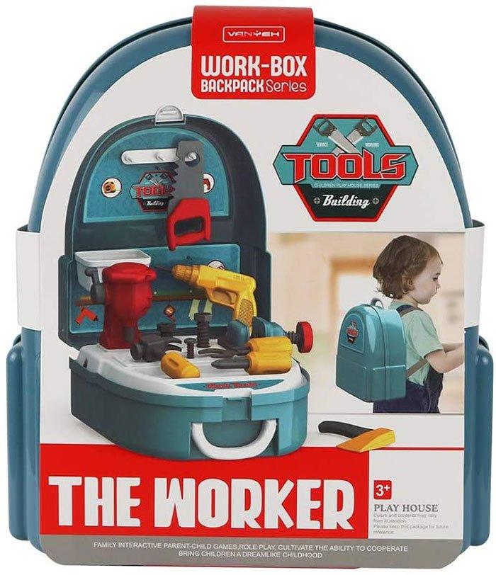 Pretend Play Kids Little Worker Tool Play Set Backpack