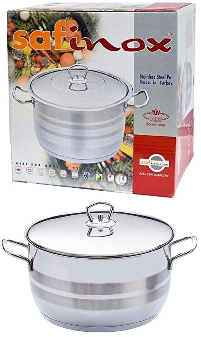 Saflon Safinox Flavia Stainless Steel Deep Cooking Pot + Steel Lid Induction Ready and Dishwasher Safe - 26 CM