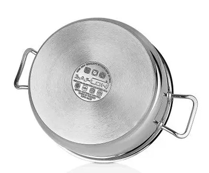 Saflon Safinox Flavia Stainless Steel Karai with Steel Lid 8 Liter Induction Ready and Dishwasher Safe - 32CM