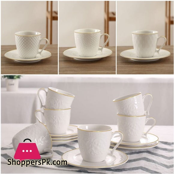 Solecasa 6 Cup and 6 Saucer God Line with Embossed