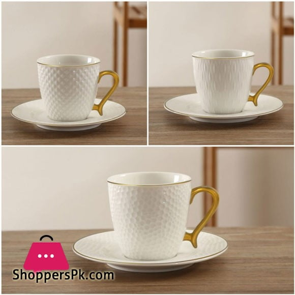 Solecasa 6 Cup and 6 Saucer Mat Gold with Embossed
