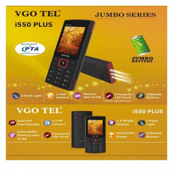 VGO TEL I550 Plus Black Golden with Official Warranty