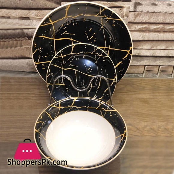 18 Piece Plate Set - Black Gold Marble