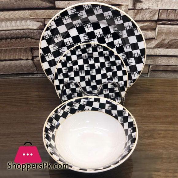 18 Piece Plate Set - Checkered