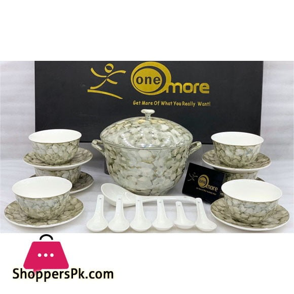 21 Pieces New Bone China Soup Set Marble Design