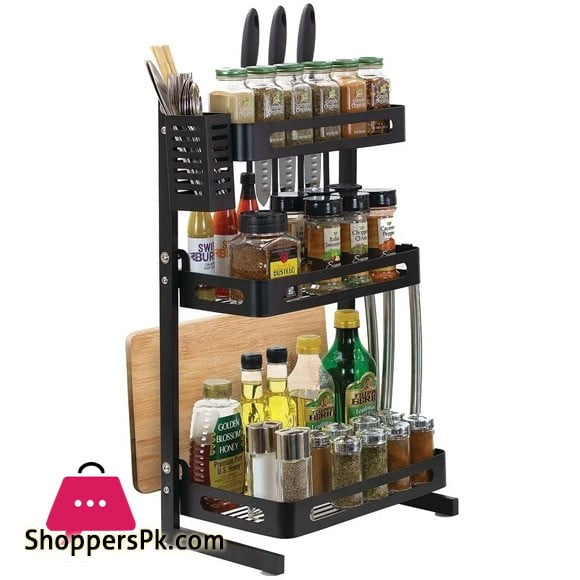 3 Tier Stainless Steel Kitchen Spice Rack Countertop Standing Organizer with 3 Hooks Black