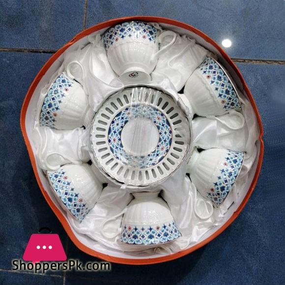 Angela Ceramic Tea Coffee Cup Saucer Set of 6 Pcs MG102