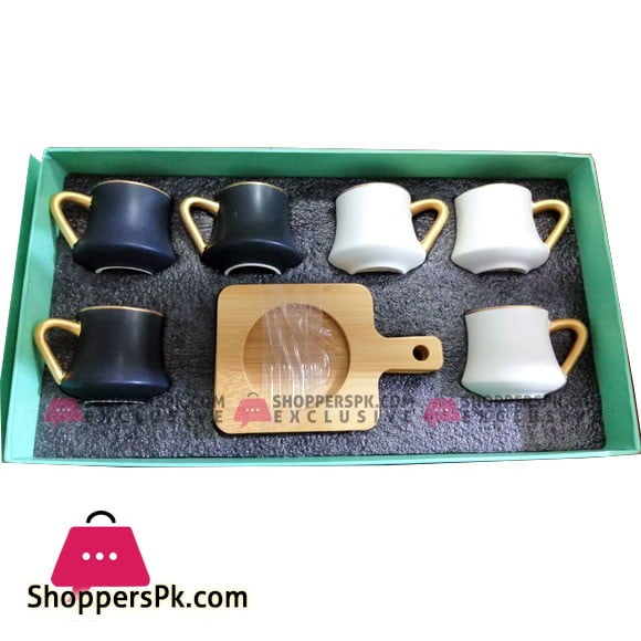 Angela Ceramic Tea Cup Coffee Cup Set with Wooden Saucer European Golden Hand Cup Saucer Set of 6 Pcs Black N White