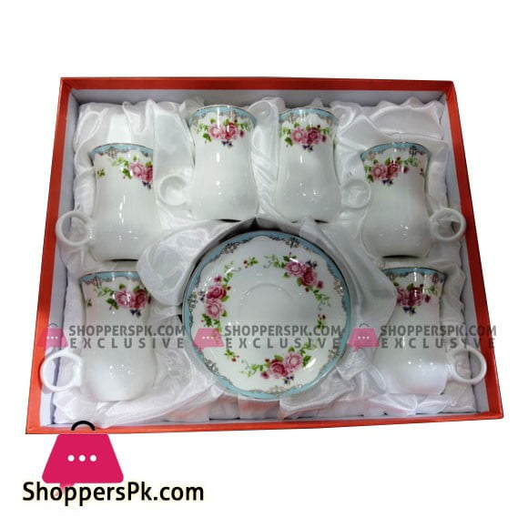 Angela Flower Ceramic Cup Saucer Set of 6 Pcs