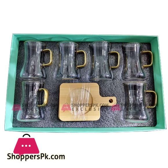 Angela Transparent Tea Cup Coffee Cup Set with Wood Saucer European Golden Hand Cup Saucer Set of 6 Pcs DIP51