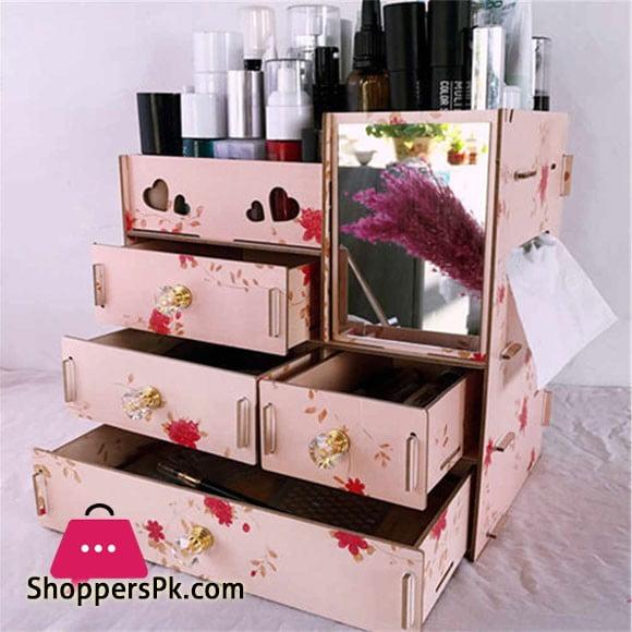 DIY Multifunctional Wooden Cosmetic Organizer Makeup Storage Box Mirror Desktop Drawer Cosmetic Case