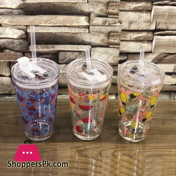 Double Wall Acrylic Tumbler Cup with Lid & Straw BPA-Free 500ML