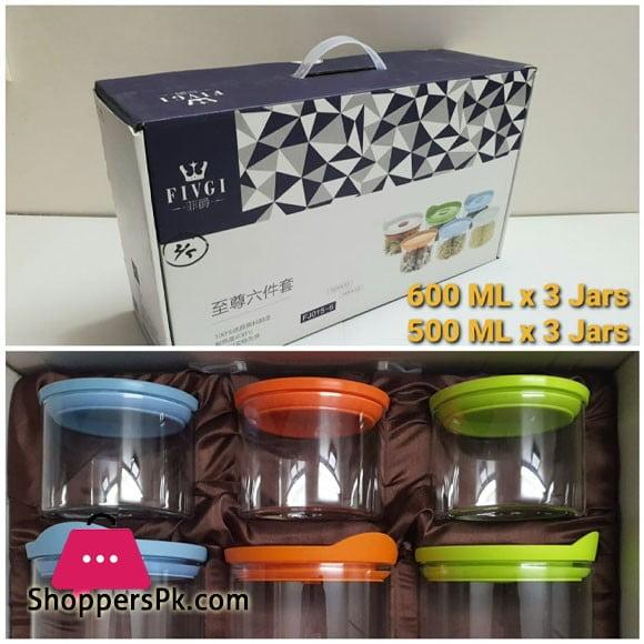 Fivgi Glassware Jar Set of 6