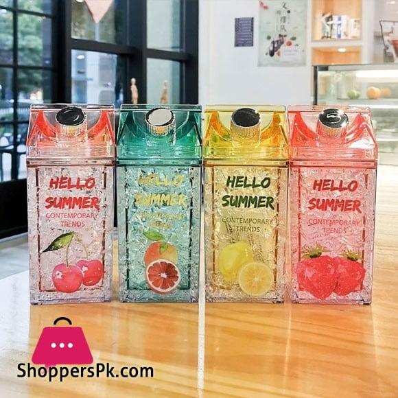 Hello Summer Straw Fashion Ice Fruit Water Bottle 430ML