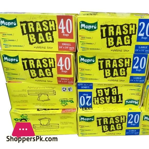 Mepro Trash Bag Garbage Bag 40 Bags Large ( 24 x 32 ) Inch