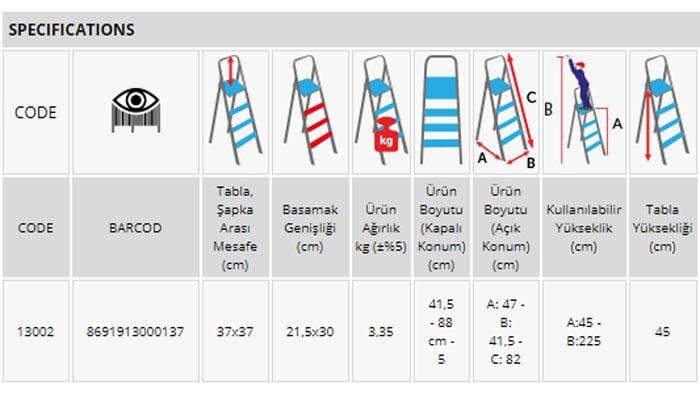 Perilla Class Ladder 13002 Turkey Made