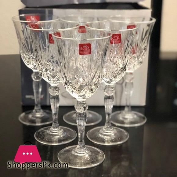 RCR Italian Crystal Wine Glasses Pack of 6