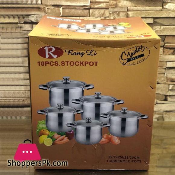 Rong Li Stainless Steel Casserole Stock Pot Set 10 Pcs