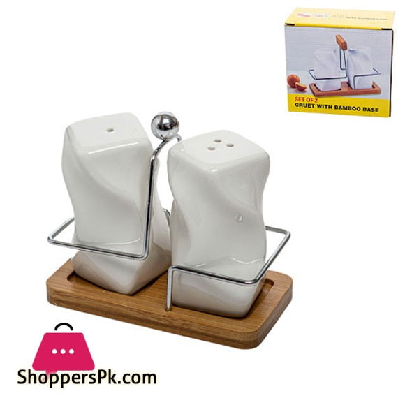 Salt and Pepper Pot with Bamboo Base JA6237B