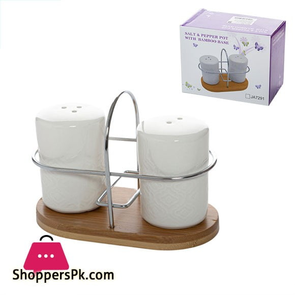 Salt and Pepper Pot with Bamboo Base JA7291-1