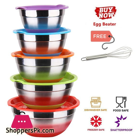 Stainless Steel Mixing Bowl Set With Lid Multi-Color 5 PCS ( Free Egg Beater )