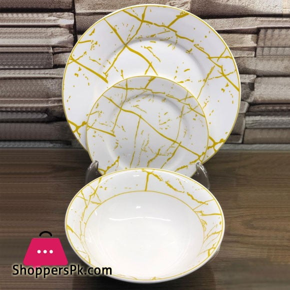 18 Piece Plate Set - White Gold Marble