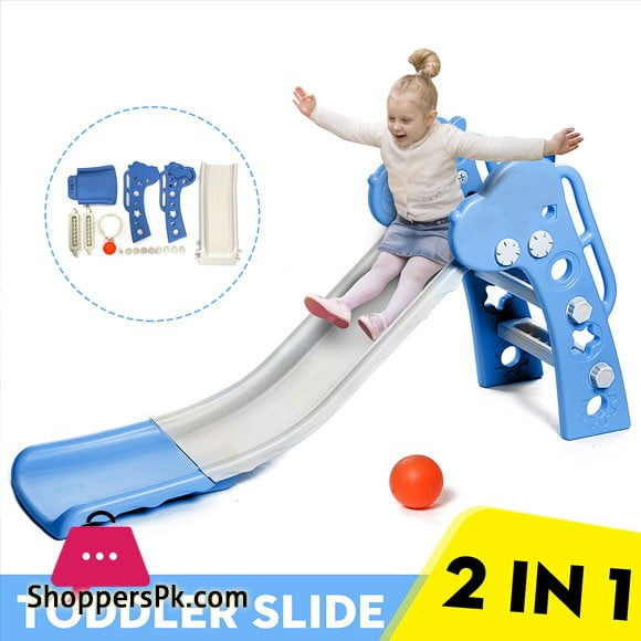 2 IN 1 Folding Toddler Slide With Basketball Hoop For Kids 0-6 years Multicolor