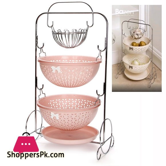 2 Layer Potato & Onion Basket Steel Frame Plastic Basket