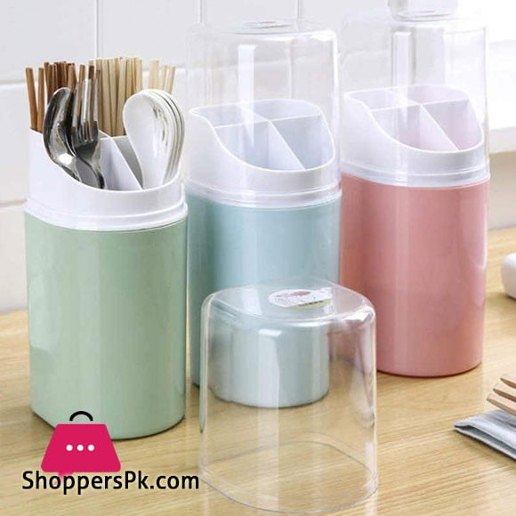 4 Compartment Plastic Cover Cutlery Holder