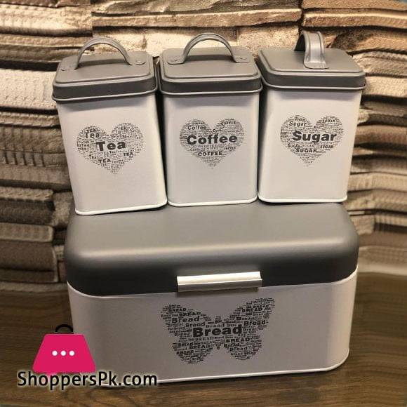 4 Pcs Tin Canister Set 3 Jar With Bread Box