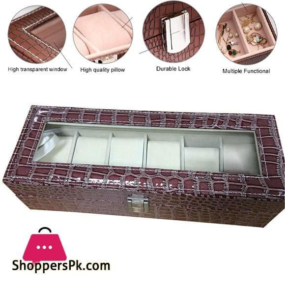6 Gird Watch Storage Box Organizer Watch Case with Leather Finish High-Elastic Pillow
