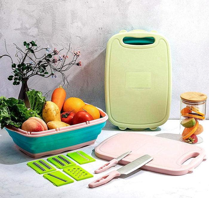 9-in-1 Kitchen Multifunctional Collapsible Space Saver Drain Fruit & Vegetable Slicer Kit