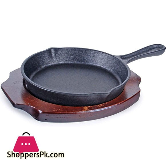 Cast Iron Skillet Pan With Wood Base Durable Fry Pan -10 Inch