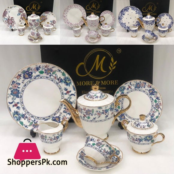 Elegance Designs 24 Pieces Tea Set Full Gold Bone China 669-5