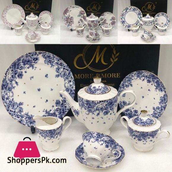 Elegance Designs 24 Pieces Tea Set Half Gold Bone China 669-4