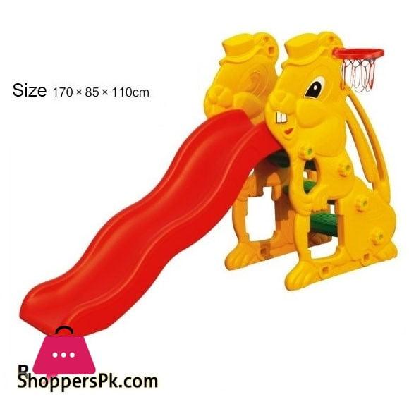 Fiber Plastic Kids Rabbit Slide with basketball Hoop 17071