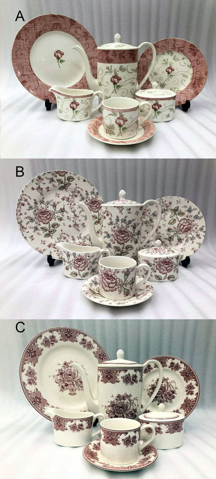 Floral More & More Brand Stoneware Tea Sets 24 Pcs 661-2