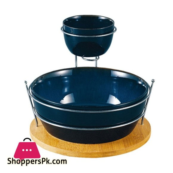 Imperial Ceramic Chip & Dip Bowl SetBlack
